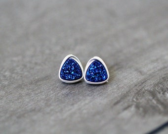 Druzy Stud Earrings, Blue Triangle Geometric Minimalist Wire Wrapped Post, Sterling Silver Gold or Rose Gold - Cobalt