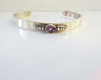 """Native American - Signed-  Sterling Silver and Bezel Set Faceted Amethyst Stone Cuff Bracelet - Size 7 - 8""""    1530D"""
