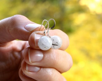 Tourmalated Quartz Earring . White Stone Wedding Earrings . Quartz Crystal Earrings Sterling . Mystical Jewelry - K2 Collection . Orb Series