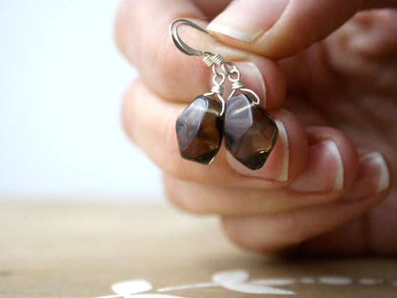 Smokey Quartz Crystal Earrings . Anti Anxiety Jewelry for Mental Health and Stress Relief . Smoky Quartz Earrings - Rennes Collection NEW