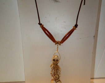 Skeleton & Skulls Pendant Necklace, Carved Bone Skulls and Skeleton Pendant with Long Horn Beads for Accent on Adjustable Leather Cord
