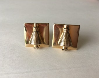 Balfour Cufflinks NASA Mercury Space Capsule Soave Collectible Gold Tone