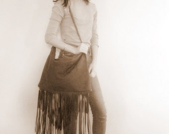 Very Distressed Chocolate Brown Leather Long Fringe Bag by Stacy Leigh