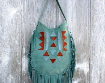Suede Leather Fringe Bag with Native American, Geometric Design in Light Green - Rust - and Blue, Shoulder Bag, Bohemian Boho by Stacy Leigh