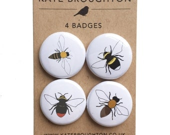bee pinback button badges (set of four) bumblebee , honey bee - wildlife / nature illustrations