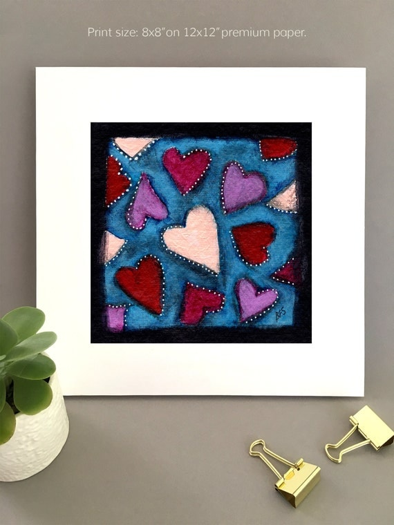 Hearts wall art | Anniversary gift | Giclée print, print for girlfriend, unique art for wife, 1st Anniversary wall art charming artwork