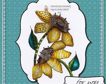 1244 Sunflower Zentangle Digi Stamp