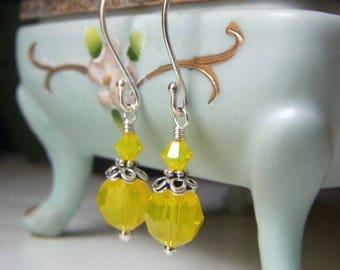 Lemon Opal Earrings, Sterling Silver Earrings, Yellow Crystal Earrings, Round Yellow Opal Swarovski Earrings, Lemony Yellow Opal Dangle