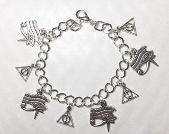 Egyptian Mystical eye of Horus pyramid bracelet silver tone charms Egypt choice of lengths from 19-21 cm