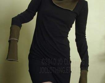 tunic dress with cowl neckline and extra long sleeves Black and Dark Olive