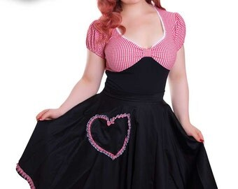Circle Skirt Heart Pockets Black/Red Gingham - BETTY_34