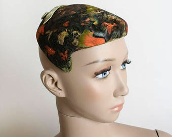 Vintage 1960s Feather Hat - Brown Mousse Tulle Netting with Autumn Orange and Green Feathers - Velvet Bow - Pillbox Style Cap
