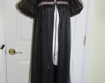SALE Vintage 1960's Black Nylon Neiman Marcus Pegnoir Robe