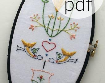 scandanavian style hand embroidery pattern folk art embroidery hoop art digital download hand embroidery pattern