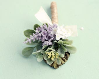 Lavender boutonniere, Artificial flower boutonniere, Woodland wedding, groomsmen button hole, rustic boutonniere, Purple flower boutonniere