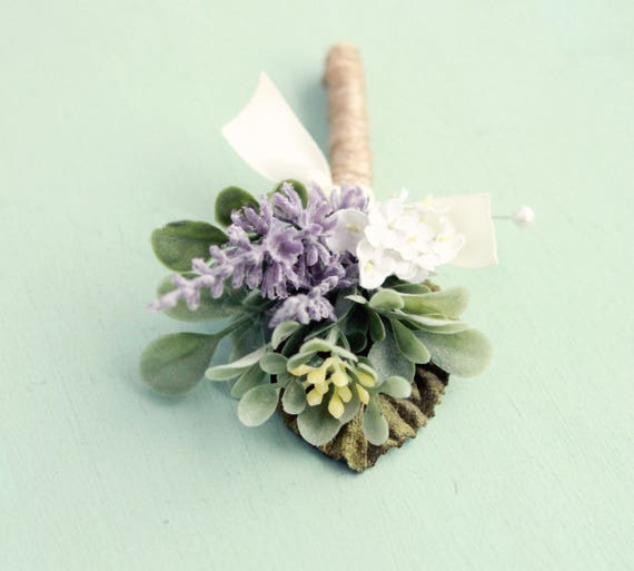 Lavender boutonniere, Artificial flower boutonniere, Woodland wedding, groomsmen button hole, rustic boutonniere, Purple flower boutonniere