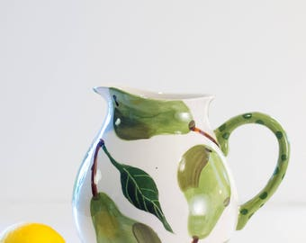 Pitcher Pear Round Pitcher Ceramic Pitcher Pottery Pitcher Water Pitcher Lemonade Pitcher Juice Pitcher Beverage Serving Wedding Gift P