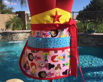 Superhero Kids Teacher Apron, Wonder Girls Sassy Vendor Apron with 6 pockets, great for Teacher Gifts, Gardening, Crafts