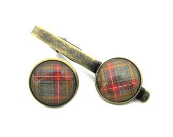 Scottish Tartan Jewelry - Ancient Romance Series - CHOICE OF ONE Buchanan Old Sett Weathered Tartan 16mm Tie Tack or Tie Clip