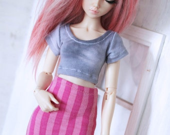 MSD Doll  BJD Minifee clothes Pink stripe pencil skirt mini skirt doll clothes MonstroDesigns Ready to Ship Limited Edition