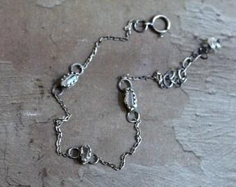 Herkimer Quartz Bracelet - Oxidized Sterling Silver Bracelet - Quartz Bezel Bracelet - Dainty Chain Bracelet - Simple Everyday Bracelet