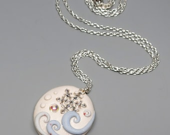 Winter Snowflake Pendant, Soft Blue and Sparkly White with AB Swarovski Cabochon