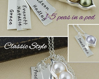 1, 2, 3, 4, 5 pea pod necklace, bar necklace, vertical bar, name bars, birthstone jewelry, gift for mom, sister gifts, best friend jewelry
