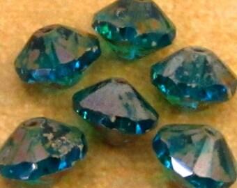 Czech Glass Saucer Beads, Aqua Blue Picasso, 13x9 MM 6-Pieces C240