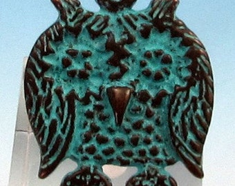 Greek Owl Pendant, Green Patina,  M345