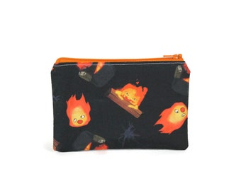 CHOOSE SIZE Calcifer Zipper Pouch / Howl's Moving Castle Bag / Make Up or Coin Pouch
