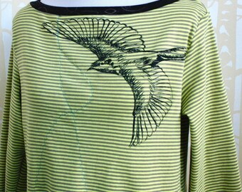 NEW Blackbird Blouse, choose your size and color, in hand printed illustration on American organic cotton