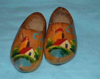 Pair of Vintage Small Wooden Dutch Clogs Wall Hanging Holland Souvenir Windmill and Cottage