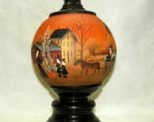 Table Lamp Halloween Witch  Globe  Hand Painted Folk Art One of a Kind