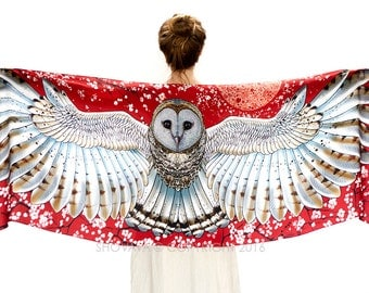 Barn Owl Wings Scarf Wrap, Red Scarf, Red Silk Scarf, Wearable Art, Owl Shawl Wrap, Birds Scarf, Feather Print Scarf, Nature Scarf