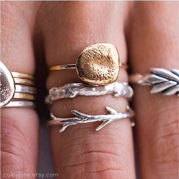Sticks and Stones Ring Set | Stacking Rings | Nature Inspired Rings