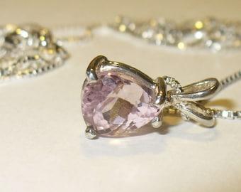 Pink Kunzite Pendant Necklace in Sterling Silver - Genuine, Natural Pink Gemstone