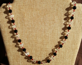 Red, Black and Clear Beaded Necklace