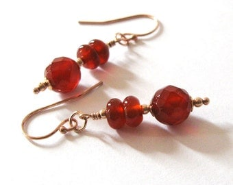 Red Carnelian Dangle Earrings Rose Gold Filled Gemstone Earrings