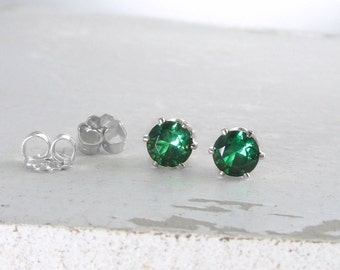 Silver Stud Earrings Silver Emerald Stud Earrings Emerald Earrings May Birthstone Jewelry Green Emerald Earrings Holiday Gift For Her