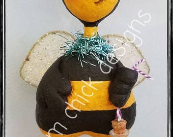 Spring whimsical bumble BEE sculpture sparkly wings bottle wish dandelion seed honey garden original  prim chick lisa robinson ofg teamhaha