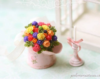 Dollhouse Miniature Bouquet - Color Burst - Dollhouse Flowers - FREE SHIPPING