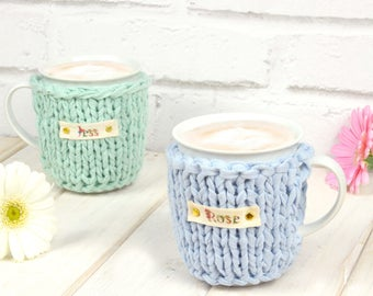 Mug Cosy - Mug and Cosy - Personalised Mug Cosy - Tea Gift - Coffee Gift - Coffee Cozy - Tea Cozy - Personalised Mug - Easter Gift - Knit