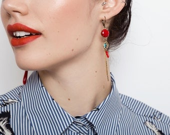 Cherry Red Mismatched Earrings - Long Asymmetric Earrings - Madone Inspired Earrings (SD1034)