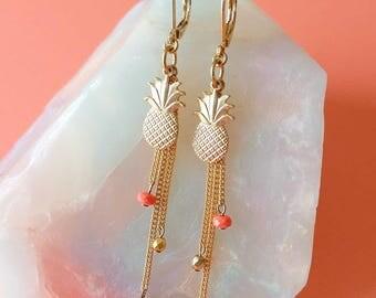 Golden Pineapple Earrings with Tassels - Gold and Coral Earrings - Tassel Earrings - Tutti Frutti Earrings (SD1263)
