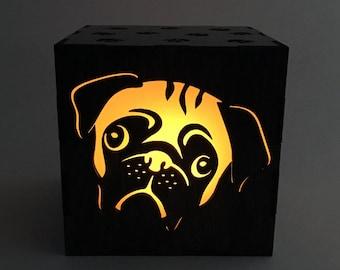Pug Candle Box, LED Candle, Pug Lantern, Candle Votive, Dog Light, Wood Lantern, Tea Light, Pug Light Box, Home Decor, Wood Nightlight
