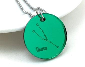 Taurus Necklace, Astrology Necklace, Taurus Sign, Astronomy Jewelry, Taurus Zodiac Sign Jewelry, Constellation Pendant, Cosmic Jewelry