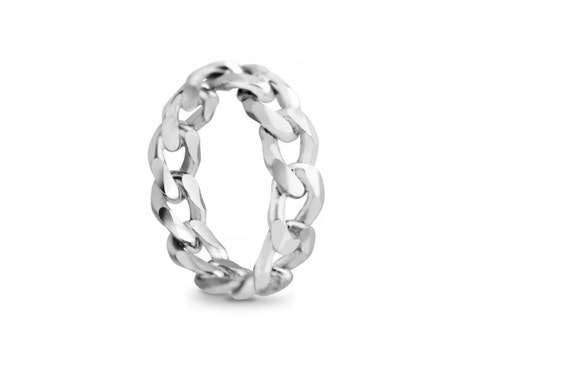 Chunky silver chain link ring perfect for stacking or as a wedding band for a man or a woman