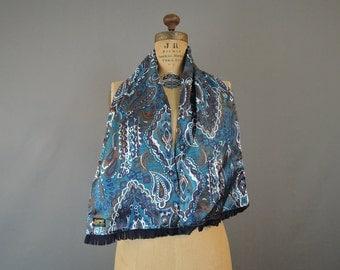 Vintage Scarf Reversible Teal Paisley & Black Wool, Mens, 9x44 1960s, Neck Coat Scarf