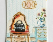 Miniature Chanel ORIGINAL Artwork ACEO French Bergere Chair Wallpaper