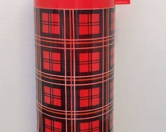 Vintage Red Plaid Thermos by Aladdin